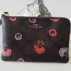 Coach Brown Floral Wristlet